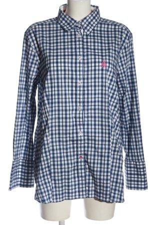 Jacques britt Chemise à manches longues bleu-blanc motif à carreaux