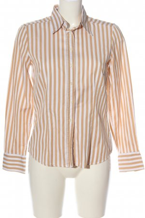 Jacques britt Camisa de manga larga blanco-naranja claro estampado a rayas
