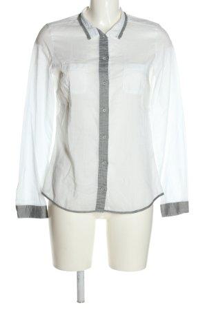 Jacques britt Chemise à manches longues blanc-gris clair style décontracté