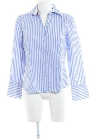 Jacques britt Chemise à manches longues bleu azur-blanc motif rayé