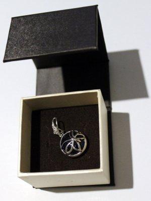 Medallón color plata-azul oscuro plata verdadero