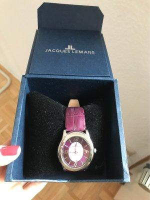 Jacques Lemans Reloj con pulsera de cuero violeta amarronado-violeta oscuro