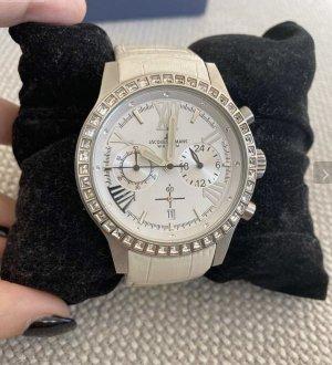 Jacques lemans: Uhr mit weißem Leder in krokodilprägun Und funkelnden Steinen NP: 200 €