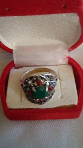 Jade Ring  Naturstein  Grün und Rot  Vintage Gr.19
