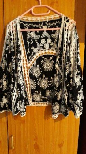 Veste à franges noir-blanc