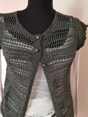 B.yu Italy Short Sleeve Knitted Jacket silver-colored-grey
