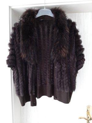 Frank Walder Smanicato di pelliccia marrone-nero