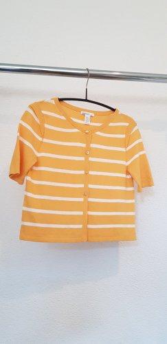 Mango Cardigan à manches courtes blanc-jaune