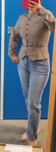 Jäger stil jacke Braun mit Gürtel 40% Wolle