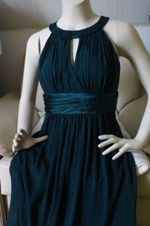 jake*s Abendkleid 32 34 XS dunkelgrün bodenlang bei ca 1,60m grün Collierkragen