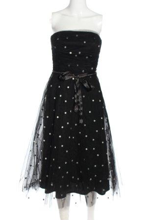 Jake*s Bandeau Dress black spot pattern elegant