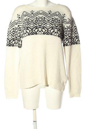 Jake*s Pullover a maglia grossa crema-nero motivo grafico stile casual