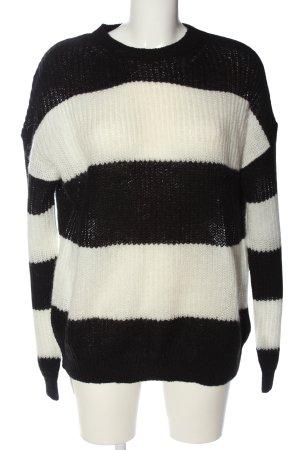Jake*s Häkelpullover schwarz-weiß Streifenmuster Casual-Look