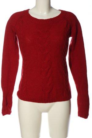 Jake*s Pullover all'uncinetto rosso punto treccia stile casual