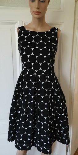 Jake*s Jake's Kleid Cocktailkleid tailliert schwarz/weiß Punkte Baumwolle Gr. 36