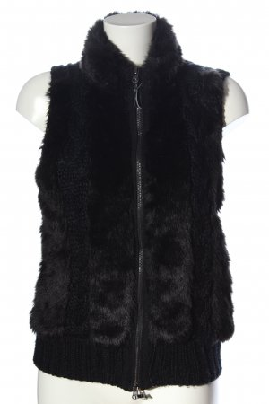 Jake*s Fake Fur Vest black cable stitch casual look