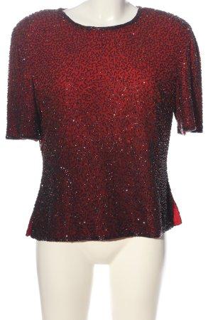 Jake*s Kurzarm-Bluse rot-schwarz Farbverlauf Elegant