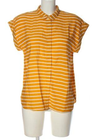 Jake*s Chemise à manches courtes orange clair-blanc motif rayé élégant