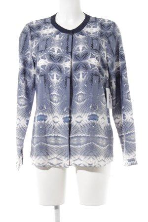 Jake*s Langarm-Bluse blau-weiß abstraktes Muster Casual-Look