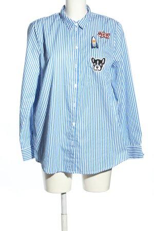 Jake*s Langarmhemd weiß-blau Motivdruck Business-Look