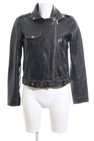 Jake*s Lederjacke schwarz klassischer Stil