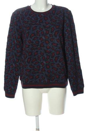 Jake*s Rundhalspullover blau-rot abstraktes Muster Casual-Look