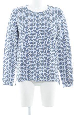 Jake*s Rundhalspullover stahlblau-weiß grafisches Muster Casual-Look
