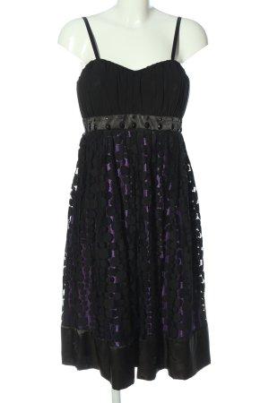 Jake*s Trägerkleid schwarz-lila Punktemuster Elegant
