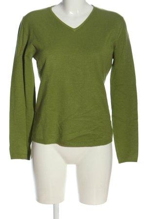 Jake*s V-Ausschnitt-Pullover grün Zopfmuster Casual-Look