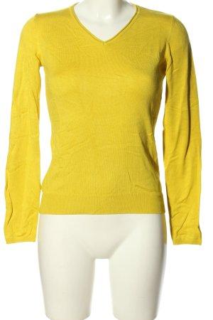 Jake*s V-Ausschnitt-Pullover blassgelb Casual-Look