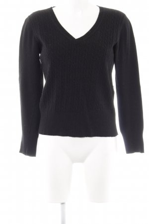 Jake*s V-Ausschnitt-Pullover schwarz Zopfmuster Casual-Look