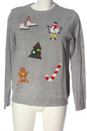 Jake*s Weihnachtspullover hellgrau meliert Casual-Look