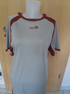 Jako Sports Shirt light grey-dark red polyester