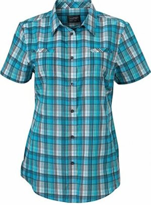 James & Nicholson Checked Blouse turquoise-anthracite cotton