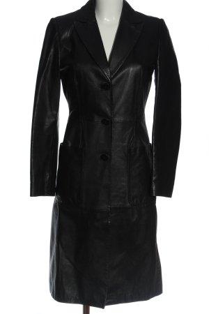 Jan Basic Skórzany płaszcz czarny W stylu casual