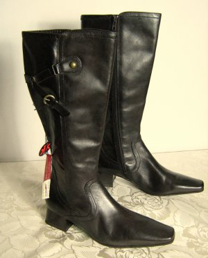JANA Leder Stiefel Antishokk Absatz Vario Schaft Größe 7 + 7,5 Unpaar 41 41,5