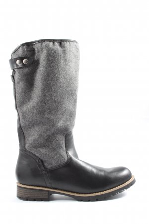 Jana Wide Calf Boots black-light grey casual look