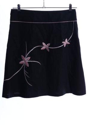 Jane norman Jupe évasée noir-rose motif de fleur style décontracté