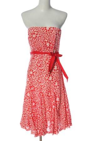 Jane norman Abito senza spalle rosso-bianco sporco stampa integrale stile casual