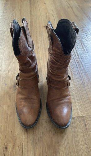 Janet & Janet Western Booties cognac-coloured-brown