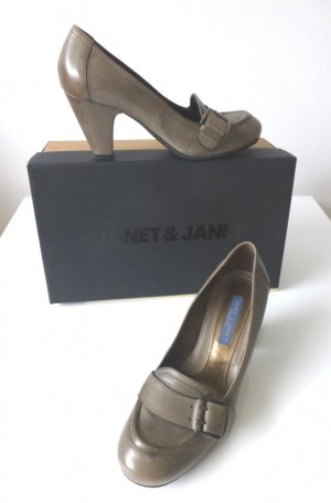 Janet & Janet Loafers grey brown leather