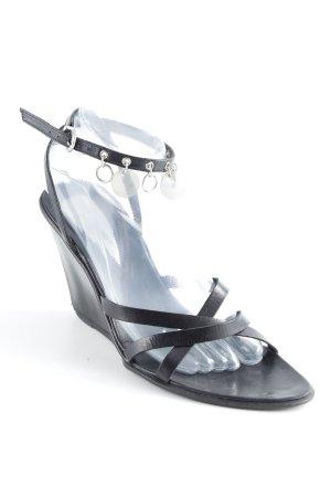 Janet & Janet Wedges Sandaletten schwarz extravaganter Stil