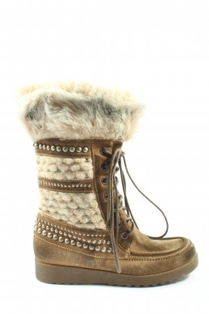Janet & Janet Wide Calf Boots brown-natural white casual look