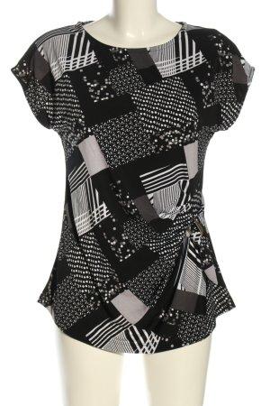 Janina ärmellose Bluse weiß-schwarz abstraktes Muster Casual-Look