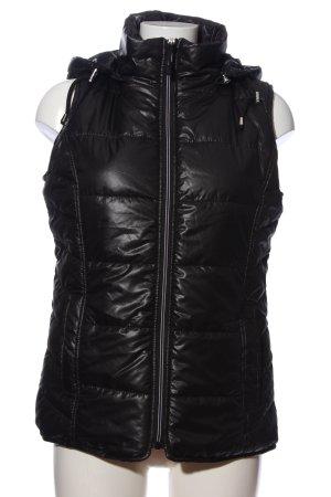 Janina Gilet en duvet noir motif de courtepointe style décontracté