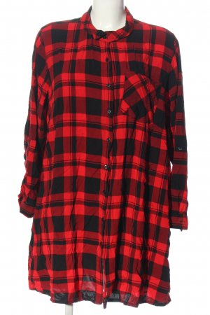 Janina Camicia blusa rosso-nero motivo a quadri stile casual