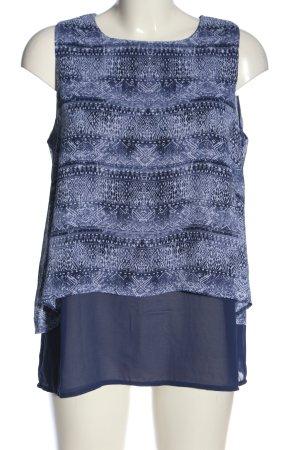 Janina Camicia blusa blu-bianco stampa integrale stile casual