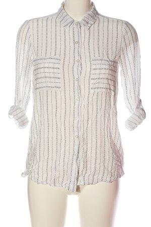 Janina Camicia blusa bianco sporco-nero motivo grafico stile professionale