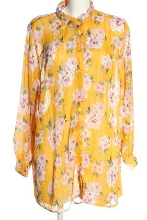 Janina Camicia blusa giallo pallido-rosa stampa integrale stile professionale