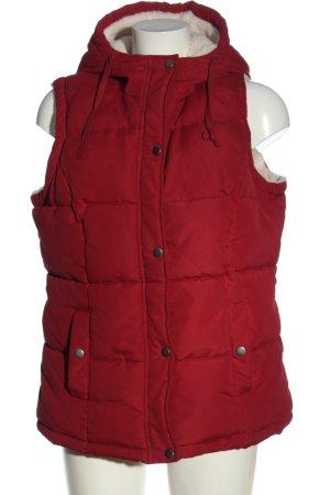 Janina Chaleco con capucha rojo estampado acolchado look casual